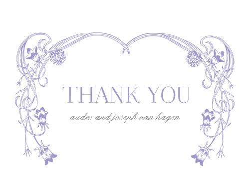 With a victorian-esque, lavender, floral frame set against against a traditional, white background, the Floral Nouveau Thank You Cards are a classic choice to represent you on your wedding day!