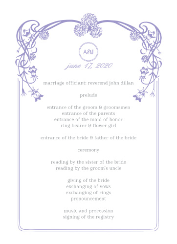 With a victorian-esque, lavender, floral frame set against against a traditional, white background, the Floral Nouveau Wedding Programs are a classic choice to represent you on your wedding day!