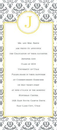 The Formal Damask Graduation Announcement has a an old world charm with its damask pattern border and tea length style.