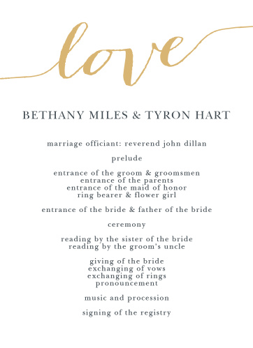 "The word ""love"" in a gorgeous font is written on the top front of the Love Script Foil Wedding Programs."