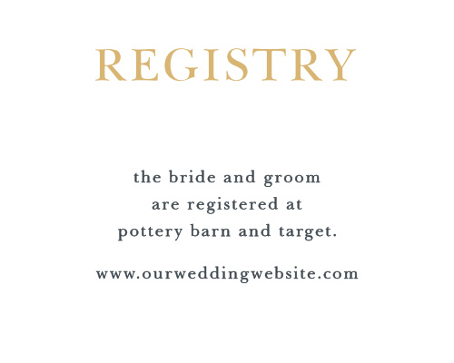 Direct guests to your wedding wish list with the Love Script Foil Registry Cards.