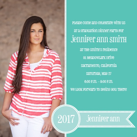 Stamped Ribbon Graduation Announcement