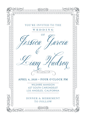 The Elegant Frame Wedding Invitations have an ornate frame bordering the contents of the invite.