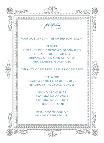 The Elegant Frame Wedding Programs intricately frame the schedule, making these simple programs stylish and sophisticated!