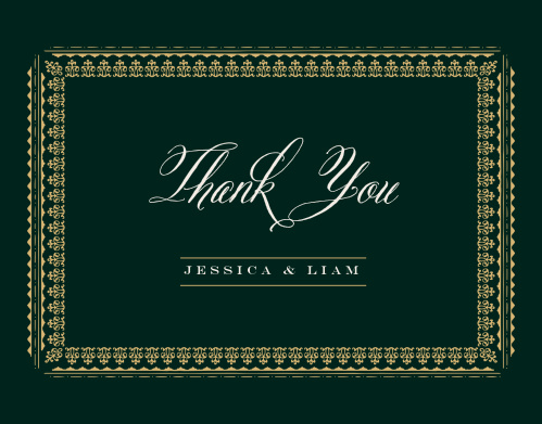 The Elegant Frame Foil Thank You Cards intricately frame your gratitude in gold foil.