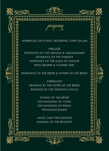 The Elegant Frame Wedding Programs intricately frame the schedule in gold foil, making these simple programs stylish and sophisticated!