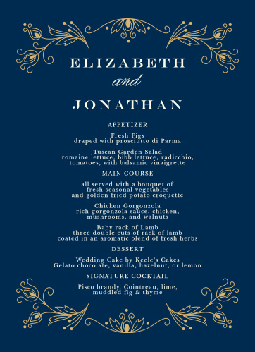 Stylized feathers create a luxurious frame on the Peacock Flourish Foil Wedding Menus.