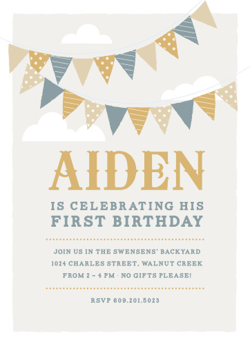 Colorful flags adorn the cloud-strewn sky of the Festival Bunting Foil First Birthday Invitations.