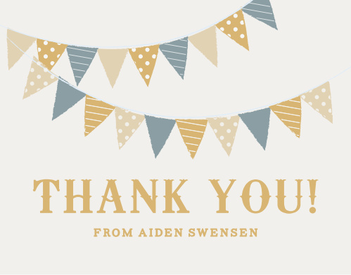 Thank your son's first birthday guests with the Festival Bunting Thank You Cards.