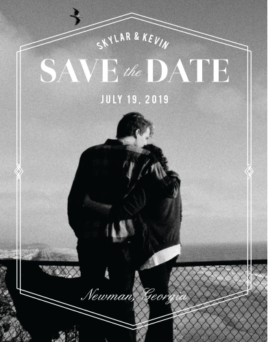 The Deco Glam Save-the-Date Cards feature an offset, geometric frame encasing all of the cards contents atop your lovely engagement photo as the background.