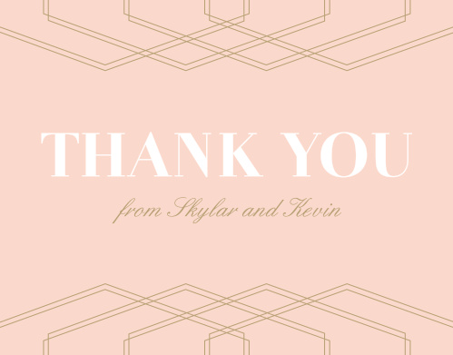 The tops of the Deco Glam Thank You Cards Cards are framed with layered, offset geometric designs atop a lovely, ballet pink background.