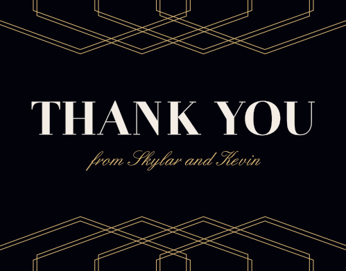 The tops of the Deco Glam Foil Thank You Cards Cards are framed with offset, gold-foiled, geometric designs contrasted atop a rich black background.
