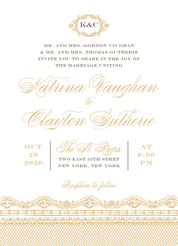 Elegant, swirling calligraphy, a victorian styled emblem, and a gorgeous vintage lace design makes the Lace Couture Foil Wedding Invitations an irresistible choice!