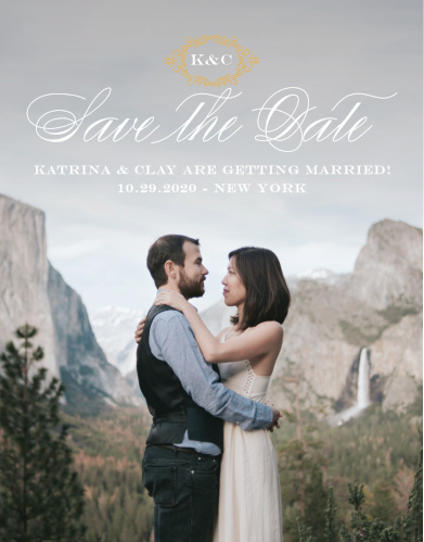 Elegant, swirling calligraphy, a victorian styled emblem, and your gorgeous engagement photo makes the Lace Couture Foil Save-the-Date Cards an irresistible choice!