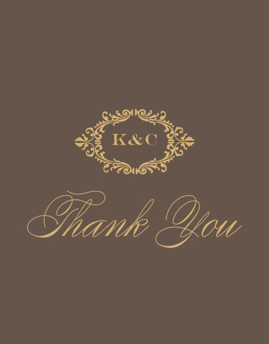 Elegant, swirling calligraphy and a victorian styled emblem makes the Lace Couture Foil Wedding Thank You Cards an irresistible choice!