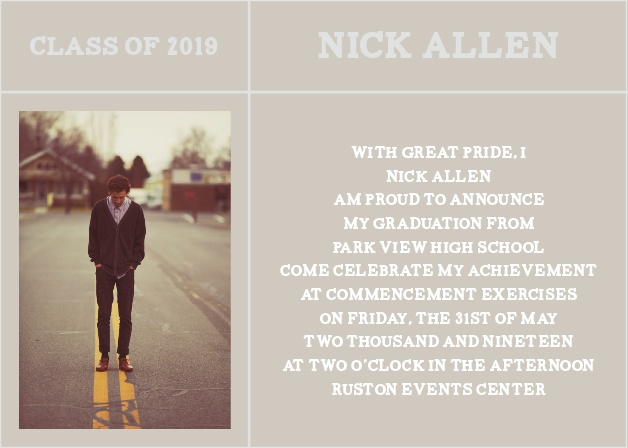 The New Beginnings Graduation Announcement has everything you love about the Square Crossroads but with a little more room for graduation details.