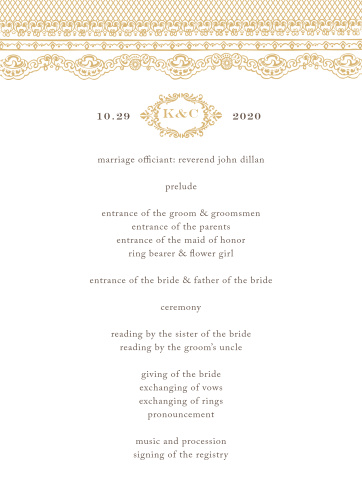 A victorian styled emblem and a gorgeous vintage lace design makes the Lace Couture Foil Wedding Programs an irresistible choice!