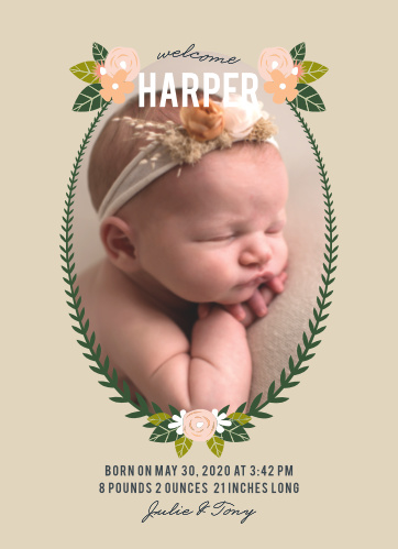 The highlight of our Herbaceous Babe Birth Announcements is, as it should be, the newest member of your family.
