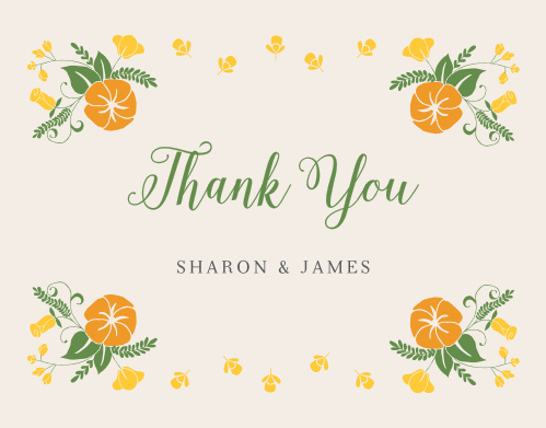 Make sure your guests know how much you appreciate them using the Vintage Blossom Wedding Thank You Cards.