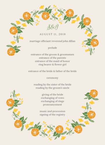 Let your guest know what to expect at your wedding using the Vintage Blossom Wedding Programs.