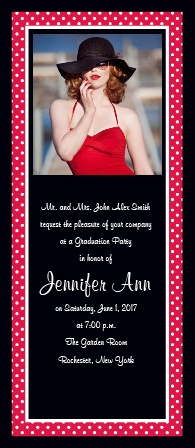 The Polka Dot Tea Graduation Announcement is a fun tea length with a polka dot border and room for a photo on the top.