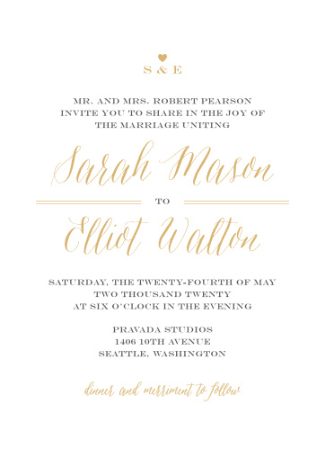 A simple emblem for your initials pairs with a very stylish calligraphy both done up in our notorious gold foil for the Rustic Chic Foil Wedding Invitations.