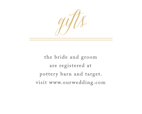 The Rustic Chic Foil Registry Cards are simple and stylish!