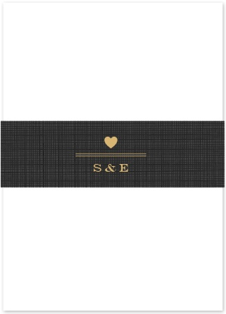 A rustic-esque plaid background is offset by a gold foiled stylish heart emblem containing your initials!