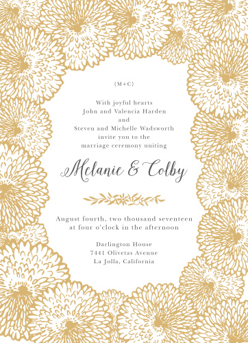 Flowers with abundant petals create a lush border on the Full Bloom Foil Wedding Invitations. Featured prominently in a romantic typeface are your names.