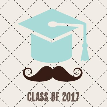 Mustache Cap Graduation Announcement