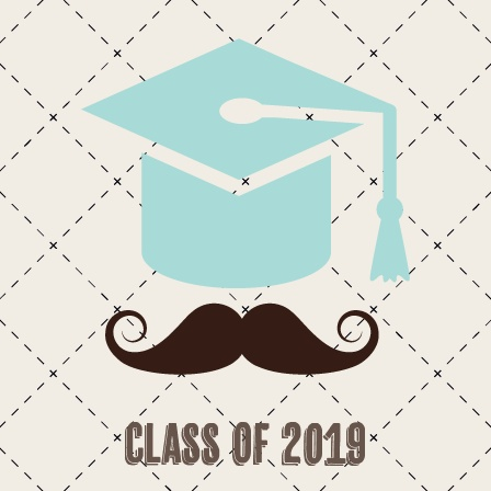 The Mustache Gradation Cap Graduation Announcement is a hip and trendy double sided square card.