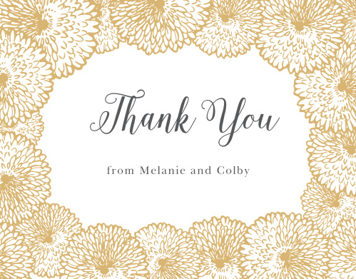 Flowers bursting with petals create a lush border on the Full Bloom Foil Thank You Cards.