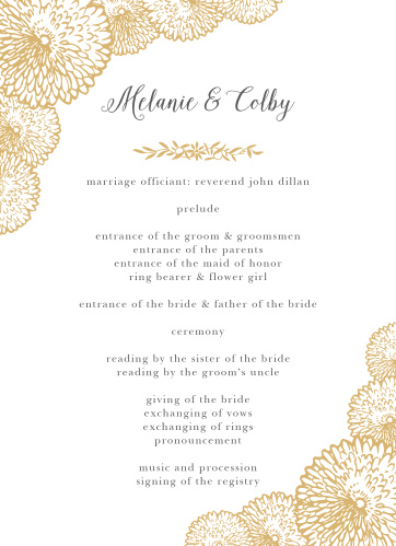 Organize your ceremony with the floral design of the Full Bloom Foil Wedding Programs.