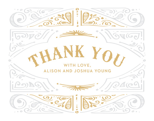 Cheerful Celebrations Foil Thank You Cards feature a bright, shining gold title in the center declaring your gratitude.