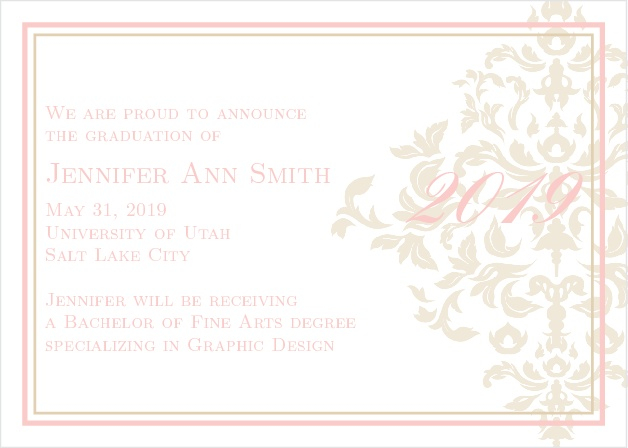 The Elegant Damask Graduation Announcement is an stunningly elegant card with its large damask pattern and font choice.