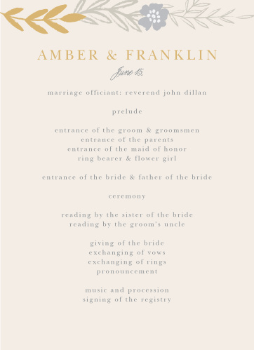 Give your guests the opportunity to follow along with each moment of your ceremony with our lovely Glimmering Garland Foil Wedding Programs.