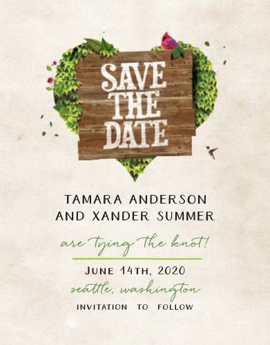 Ensure that your friends and family know when your wedding will be using the Rustic Heartchery Save-the-Date Cards.