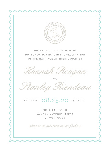 Composed from the heart, in colors of glass blue and smoky taupe and embellished with retro script and a postmark emblem, the Note Home Wedding Invitations are more than an invitation, they're a momento of the love you and your betrothed share!