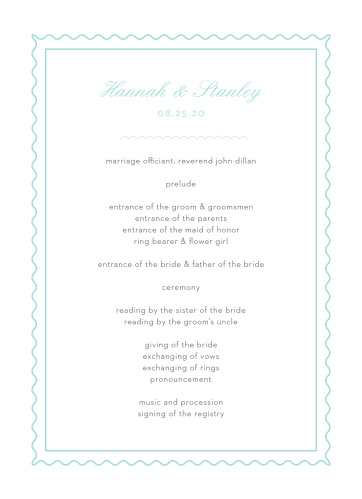 Composed from the heart, in colors of glass blue and smoky taupe and embellished with retro script and a hand drawn frame, the Note Home Wedding Programs are an endearing way to provide a schedule of the evening for your guests!
