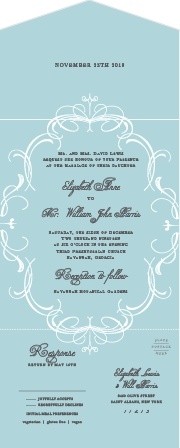 Don't forget something old and blue, as with our Flourish Charm Seal & Send Wedding Invitations!