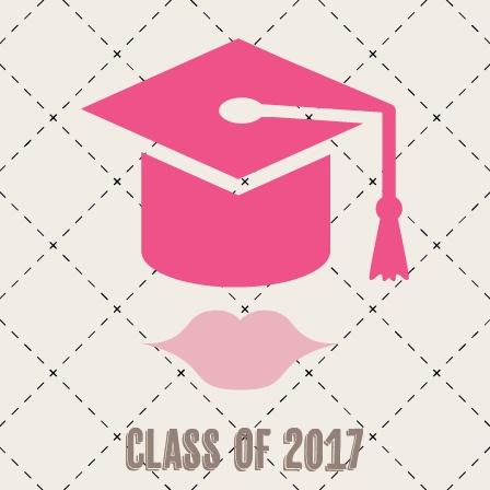 Lips Cap Graduation Announcement