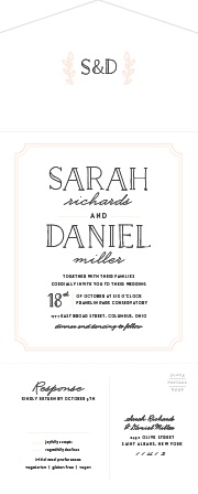 The Type Frame Seal & Send Wedding Invitations are done up with simple, light coral accents and a carefully outlined, old-fashioned typeface that spells out your names and the date in delightful detail!