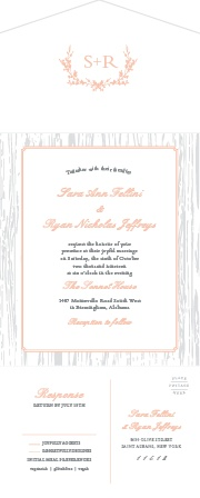 Our Rustic Wreath Seal & Send Wedding Invitations are decorated with an assortment of subtle scripts, classic prints, dolphin grays, and soft hues of pink.