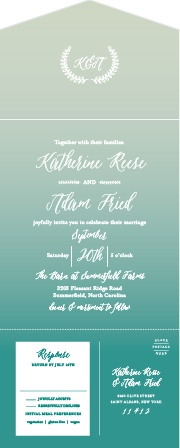 A gorgeous watercolor gradient guides your guests through the details of your wedding on our Rustic Ombre Seal & Send Wedding Invitations.