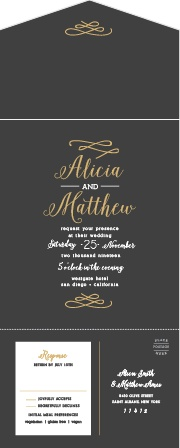 The Whimsical Calligraphy Foil Seal & Send Wedding Invitations are simple with a modern, swirling script in your choice of gold, rose gold, or silver foil.