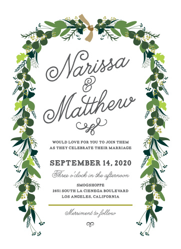 A scrolling, swirling cursive spells out your names in the center of our Hanging Garland Wedding Invitations.