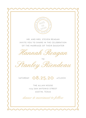 Composed from the heart, in gold foil, french grey and smoky taupe and embellished with retro script and a postmark emblem, the Note Home Foil Wedding Invitations are more than an invitation, they're a momento of the love you and your betrothed share!