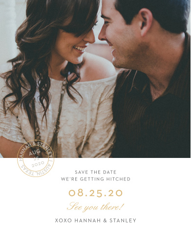 Composed from the heart, in gold foil, french grey and smoky taupe and embellished with your engagement photo, retro script and a postmark emblem, the Note Home Foil Save-the-Date Cards are a momento of the love you and your betrothed share!