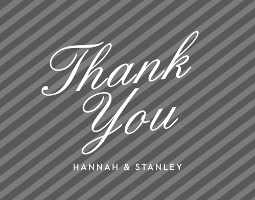 Composed from the heart in french grey stripes, and embellished with a huge retro script the Note Home Foil Thank You Cards are a charming choice for you to send your gratitude after the event!