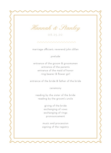 Composed from the heart, in colors of gold foil and french grey and embellished with retro script and a hand drawn frame, the Note Home Foil Wedding Programs are an endearing way to provide a schedule of the evening for your guests!
